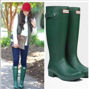 Green Hunter Boots size 5